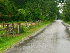 The rain in Maine fell mainly on the lane.
